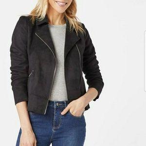 Faux suede black moto jacket coat shirt blazer top